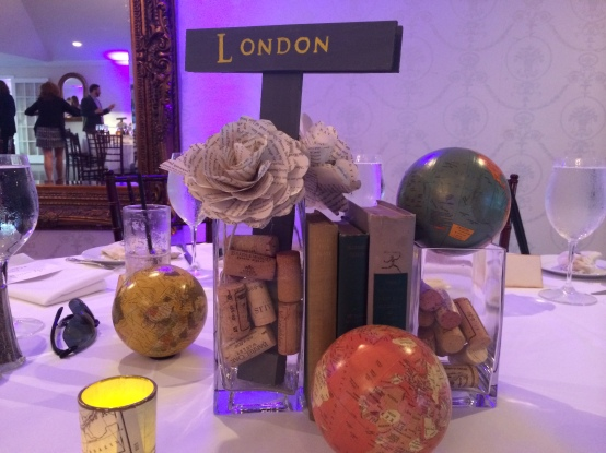 Bibliophile + Travel themed wedding centerpiece